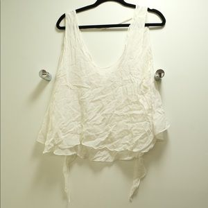 Zara Layered Linen Top with Tie Back Bow Sz L